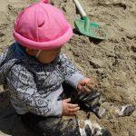 砂を握って放してと園庭の散策
