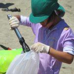 海水浴場のゴミ拾い。